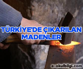 Türkiye'de çıkarılan madenler ve madenlerin çıkarıldıkları yerler